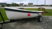 14 ft Fiber Glass Boat & 4 hp Yamaha Engine & Trailer